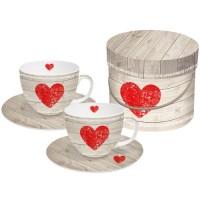 Set 2 tazas cappuccino con plato decoradas corazón Heart of Wood PPD 20cl