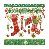 Servilletas papel navideñas estampado calcetines Christmas Stockings PPD 33x33cm