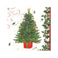 Servilletas papel navideñas estampado árbol Navidad Tree and Holly PPD 33x33cm