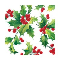 Servilletas papel navideñas estampado Acebo Holly Berries PPD 33x33cm
