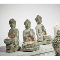 Figura cemento Buda sentado portavelas 12x10x20cm