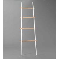 Escalera metal blanca y madera 4 peldaños
