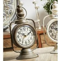 Reloj metálico de sobremesa marrón Quinque 14x11x26cm