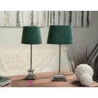 Lámpara mesa pie metálico con pantalla terciopelo verde Ø20x52h cm