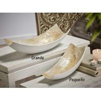 Centro mesa rectangular madre perla blanco y beige pequeño 31x16xh9cm