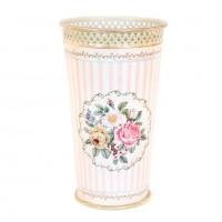 Paragüero metálico estampado rayas rosas y blancas y flores Provenza Ø27X46 cm