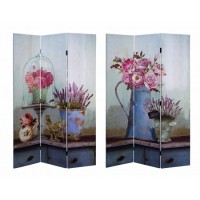 Biombo 3 paneles verde agua jarrones rosas y lavanda 120x2,5x180 cm
