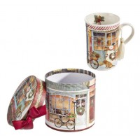 Mug porcelana Estampa Navideña en caja regalo 12,3x11,2h cm
