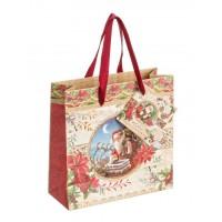 Bolsa regalo papel roja estampado Papa Noel 15x6xh15 cm