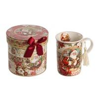 Mug porcelana navideña roja Papa Noel en caja regalo 12,3x11,2h cm