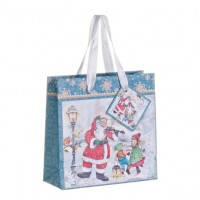 Bolsa regalo papel azul estampado Papa Noel Holly 15x6xh15 cm