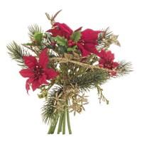Ramo bouquet Navidad Ponsetias y acebo 20cm