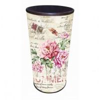 Paraguero polipiel estampado sellos y flores 25x25x60 cm