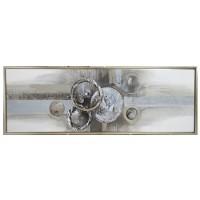 Lienzo cuadro abstracto círculos plata y champagne con marco 55x155cm