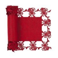 Camino de mesa fieltro rojo campanas Navidad 30x120cm