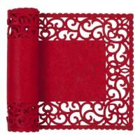Camino de mesa fieltro rojo bordes calados 30x120cm