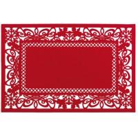 Mantel individual rectangular fieltro rojo Ángeles 45x30cm