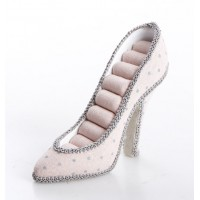 Zapato anillero rosa lunares grises 17x5x12cm
