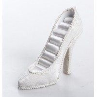 Zapato anillero brocado blanco 17x5x12cm