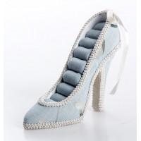 Zapato anillero azul flores blancas 17x5x12cm