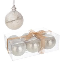 Set 6 bolas árbol de Navidad plástica champagne Bijoux 8 cm