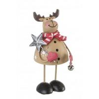 Figura navideña metálica Reno con cascabel Brema 7x7h cm