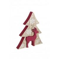 Figura navideña madera pino y reno rojo copos de nieve 18,5x2,5x21,5h cm