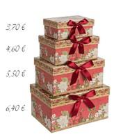 Caja cartón roja estampado navideño flores y lazo 14x10x6h cm