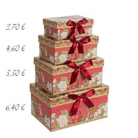 Caja cartón roja estampado navideño flores y lazo 17x12x8h cm