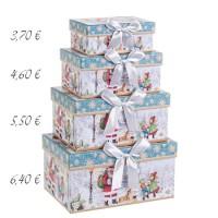 Caja cartón azul y blanca estampado navideño Papa Noel y lazo 14x10x6h cm