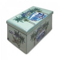 Baul plegable azul Furgoneta surfera palmeras 76x40xh37cm