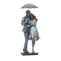 Figura decorativa poliresina pareja con paragüas