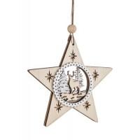 Adorno árbol de Navidad en madera estrella paisaje pinos y reno troquelados 10cm