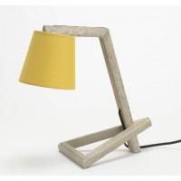 Lámpara de mesa base madera y pantalla mostaza 11x14xh35 cm