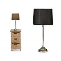 Lámpara mesa pie metálico con pantalla saco negra Ø22x48h cm