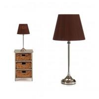 Lámpara mesa pie metálico con pantalla marrón Ø22x49h cm