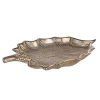 Plato centro hoja de acebo dorado 23x13,5 cm
