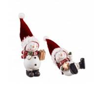 Figura navideña cerámica Muñeco de Nieve con gorro con regalo o tumbado 7cm