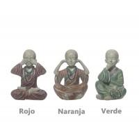 Figura resina monje budista 3 colores 10,5h cm