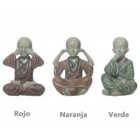 Figura resina monje budista 3 colores 13h cm