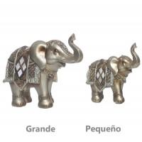 Figura poliresina Elefante dorado y nacar blanco pequeño 14x7x13h cm