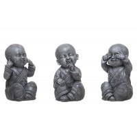 Figura resina monje budista gris 3 posiciones 10x20h cm