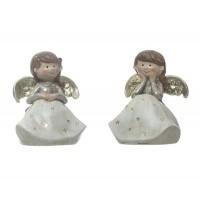 Figura navideña cerámica niña Angel 2 opciones 7x8x10,5h cm