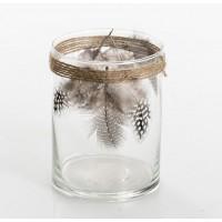 Tealight vaso cristal con detalle plumas y cuerda 9x12h cm