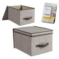 Caja de almacenamiento con tapa abatible y asa 40x30x25 cm