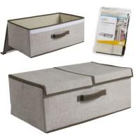 Caja de almacenamiento con tapa doble abatible y asa 50x30x20 cm