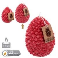 Vela navideña roja forma piña 8,7x11,30h cm
