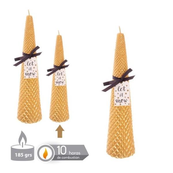 Vela navideña dorada cónica con relieve 5,5x19,5h cm