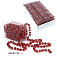 Rollo bolas plástico rojas guirnalda navidad 5 m