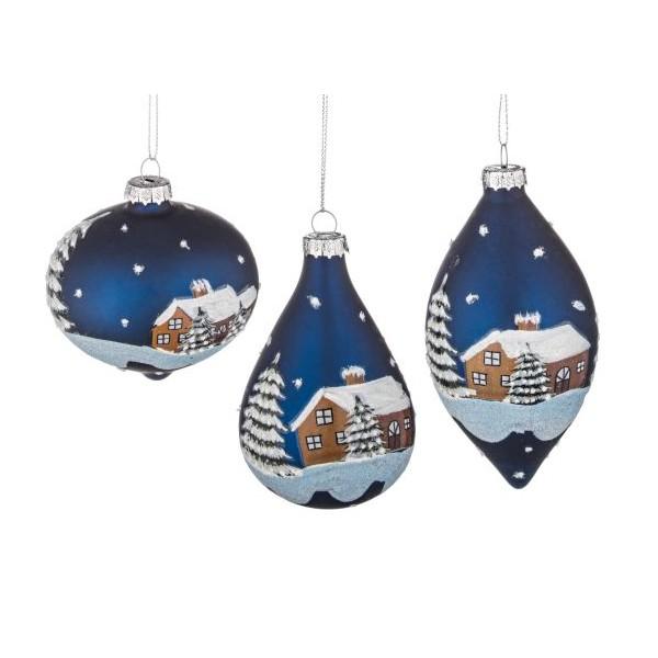 6c366b15647 Bola árbol de Navidad cristal azul estampado casa nevada 3 formas 8cm